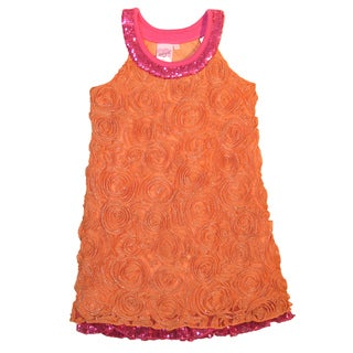 Lipstik Girls Orange and Fuschia Sequin Dress