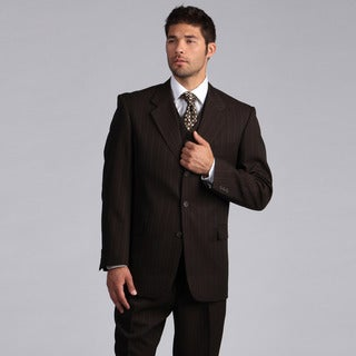 Lucelli Men's Brown Multi Stripes Vested 3 Button Suit