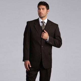 Lucelli Men's Brown Multi Stripes Vested 3 Button Suit