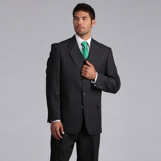 Lucelli Men's Grey Multi Pin Stripes Vested 3 Button Suit