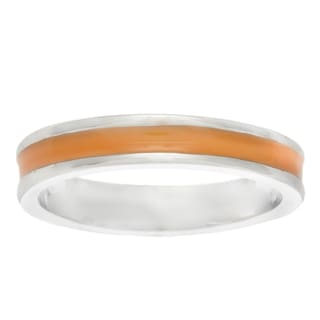 Kate Bissett Silvertone Orange Enamel Center Eternity Ring