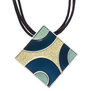 Kate Bissett Silvertone Art Deco Square Enamel and Leather Cord Necklace