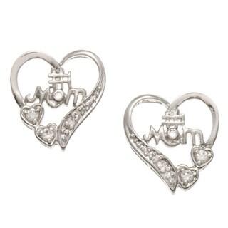 Kate Bissett Silvertone Clear Cubic Zirconia '#1 Mom' Heart Earrings