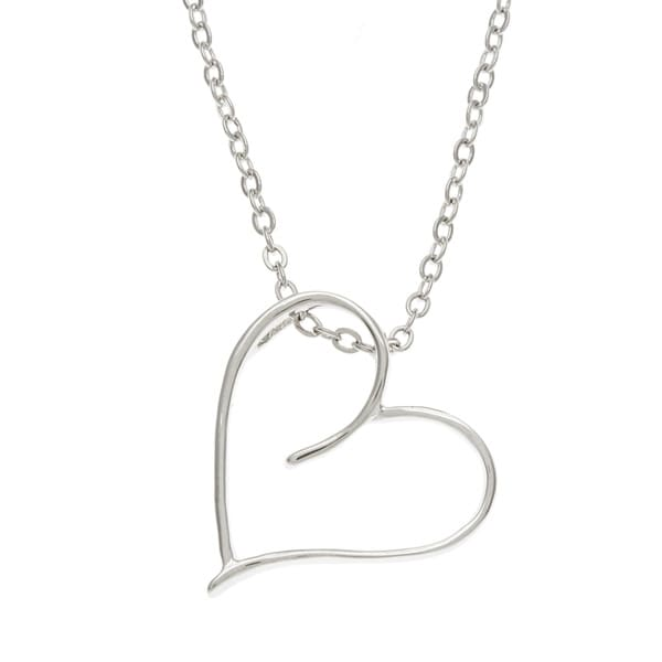 Kate Bissett Silvertone Petite Notched Heart Necklace