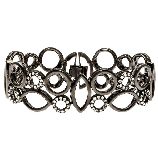 Kate Bissett Black-plated Clear Cubic Zirconia Geometric Bangle Bracelet