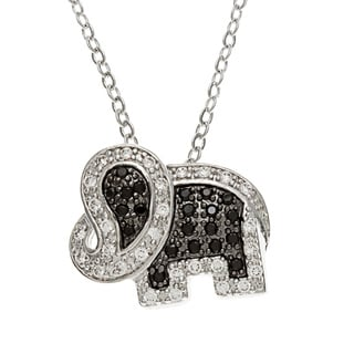 Kate Bissett Rhodium-plated Black and White Cubic Zirconia Elephant Necklace