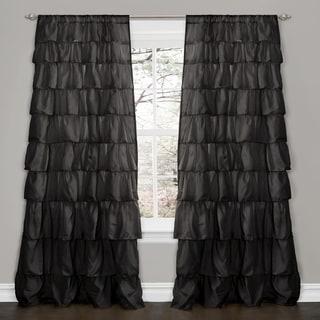 Lush Decor Black 84-inch Ruffle Curtain Panel