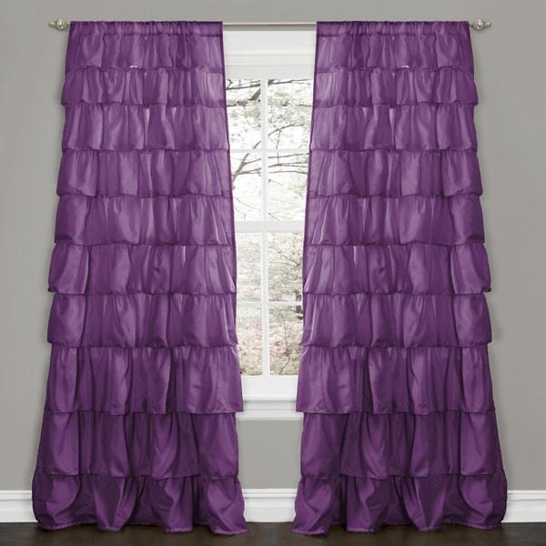 Lush Decor Purple 84-inch Ruffle Curtain Panel - 15436479 - Overstock ...
