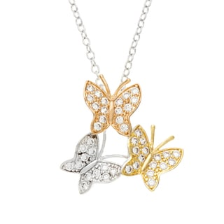 Kate Bissett Tri-color Clear Cubic Zirconia Butterfly Necklace