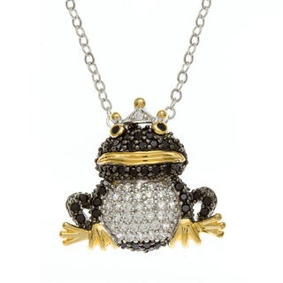 Kate Bissett 14k Goldplated Black and White Cubic Zirconia Frog Prince Necklace