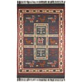 Hand-woven Blue Tribal Print Wool and Jute Rug (5' x 8')