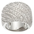 Kate Bissett Silvertone Clear Cubic Zirconia Diagonal Pave Fashion Ring