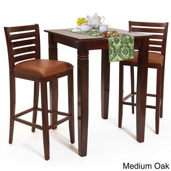 Italy Bar Set Medium Oak Finish Italy Bar Table And Stools 3 Piece Set