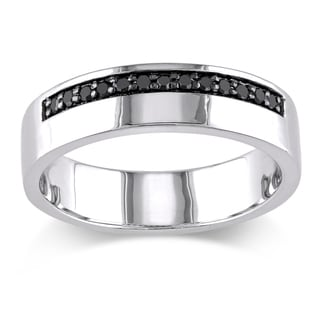 Miadora Sterling Silver Men's 1/5ct TDW Black Diamond Wedding Band Ring