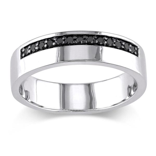 Miadora Sterling Silver Men's 1/5ct TDW Black Diamond Wedding Band Ring