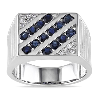 Miadora Sterling Silver Men's 2ct TGW Blue and White Sapphire Ring