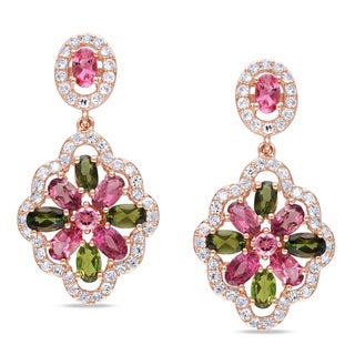 Miadora Rose Gold Plated Silver Tourmaline Created White Sapphire Earrings