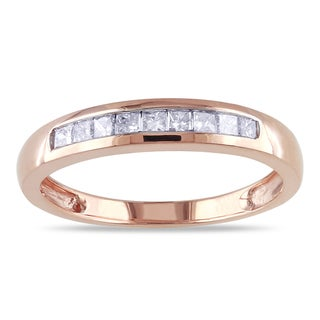 Miadora 14k Rose Gold 1/4ct TDW Princess-Cut Diamond Ring (G-H, I1-I2)