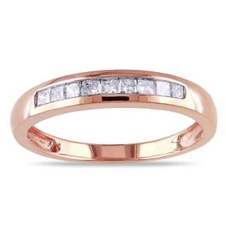 Miadora 14k Rose Gold 1/4ct TDW Princess-Cut Diamond Anniversary Ring (G-H, I1-I2)