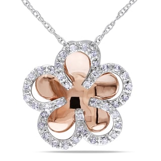 Miadora 10k Two-tone Gold 1/5ct TDW Diamond Flower Necklace (I-J, I2-I3)