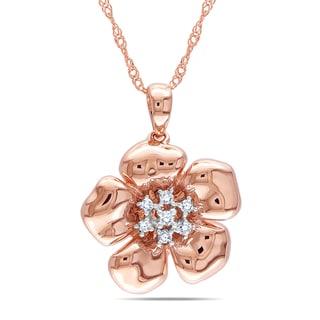 Miadora 14k Rose Gold 1/10ct TDW Diamond Flower Necklace (G-H, I1-I2)