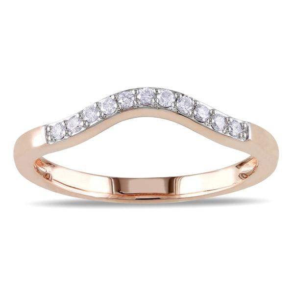 Miadora 10k Rose Gold 1/10ct TDW Curved Diamond Wedding Band (G-H, I2-I3)
