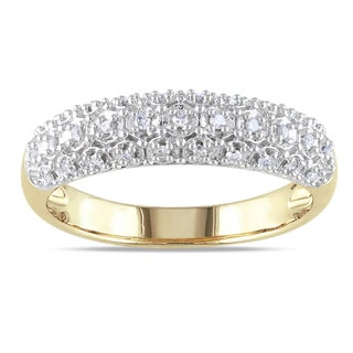 Miadora 10k Yellow Gold 1/8ct TDW Diamond Ring (H-I, I2-I3)