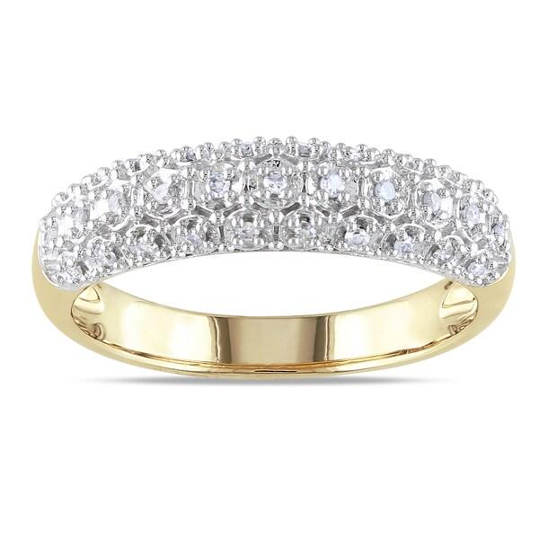 Miadora 10k Yellow Gold 1/8ct TDW Diamond Ring (H-I, I2-I3)