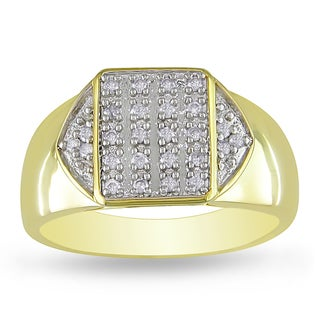 Miadora Yellow Plated Silver Men's 1/4ct TDW Diamond Ring (H-I, I2-I3)