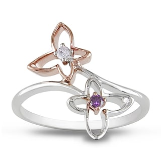 M by Miadora 10k Two-tone Gold Pink and White Diamond Flower Ring