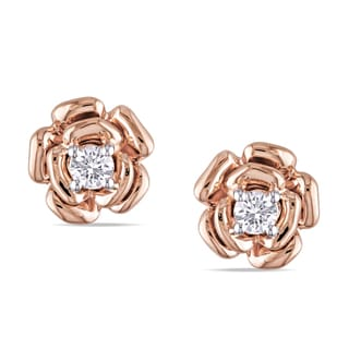 Miadora 10k Rose Gold 1/5ct TDW Diamond Flower Earrings (H-I, I2-I3)