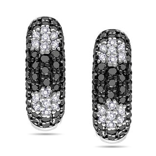 Miadora Sterling Silver 3/4ct TDW Black and White Diamond Hoop Earrings