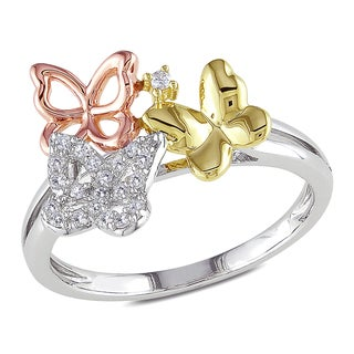 Miadora Tri-Color Gold 1/10ct TDW Diamond Butterfly Ring (H-I, I2-I3)
