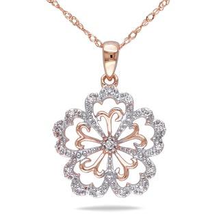 Miadora 14k Rose Gold Diamond Flower Necklace (G-H, I1-I2)