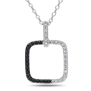 Miadora Sterling Silver 1/4ct TDW Black and White Diamond Square Necklace