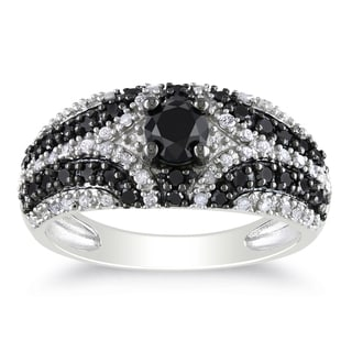Miadora Sterling Silver 1 1/10ct TDW Black and White Diamond Ring