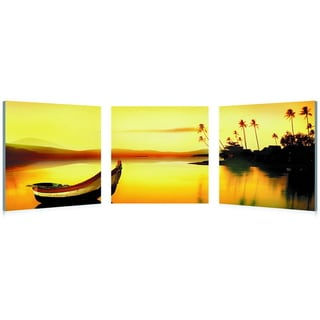 Baxton Studio Golden Sunset Mounted Photography Print Triptych