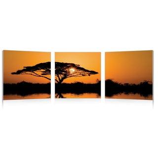 Baxton Studio Savannah Sunset Mounted Photography Print Triptych