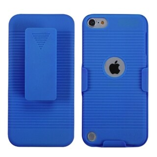 Insten Blue Hard Snap-on Rubberized Matte Case Cover with Holster For Apple iPod Touch 5th/ 6th Gen