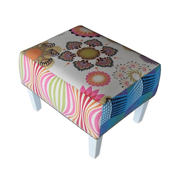 Coral Patchwork Patterned Ottoman