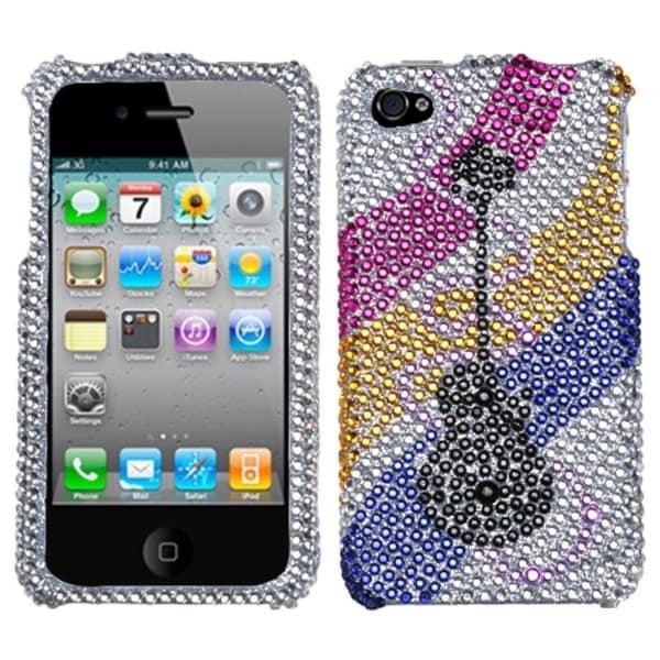 INSTEN Ribboned Guitar Diamante Phone Case Cover for Apple iPhone 4S/ 4