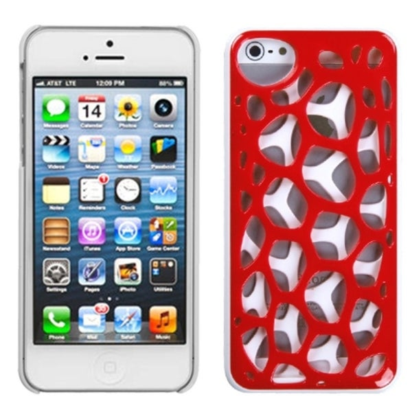 INSTEN Red/ White Synapse Phone Case Cover for Apple iPhone 5