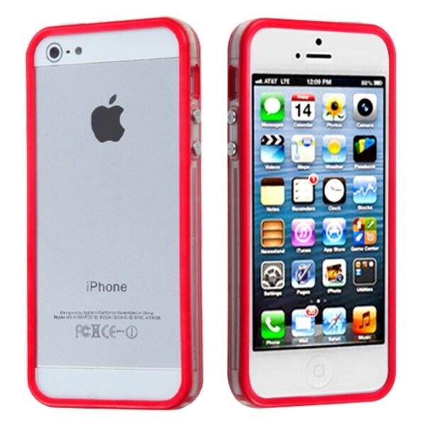 INSTEN Red/ Transparent Clear MyBumper Phone Case Cover for Apple iPhone 5