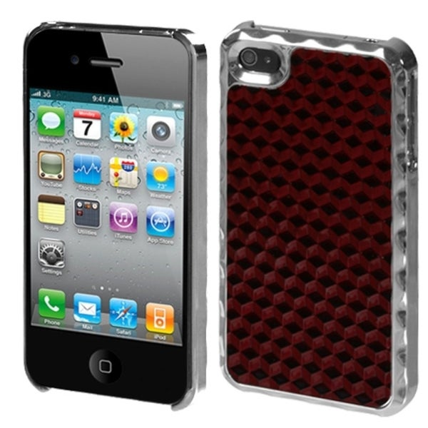 INSTEN Red/ Alloy/ Silver Diamond Phone Case Cover for Apple iPhone 4S/ 4
