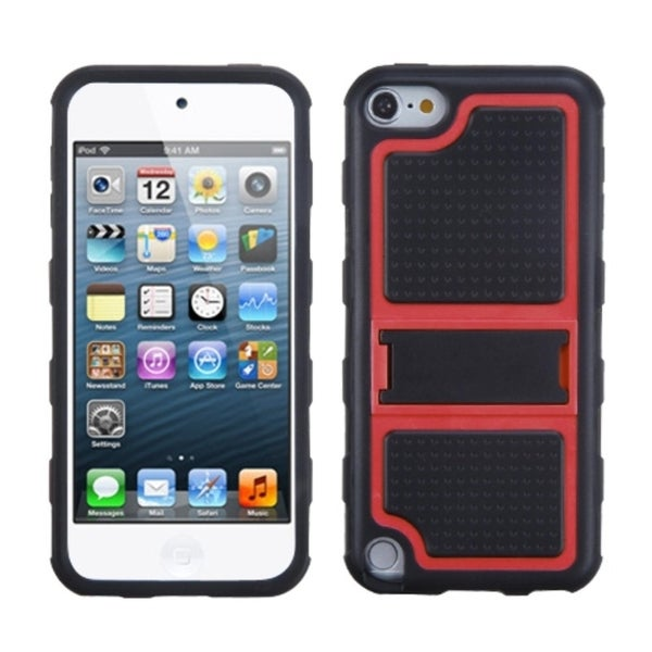 INSTEN Red Gummy Armor Stand for Apple iPod touch 5