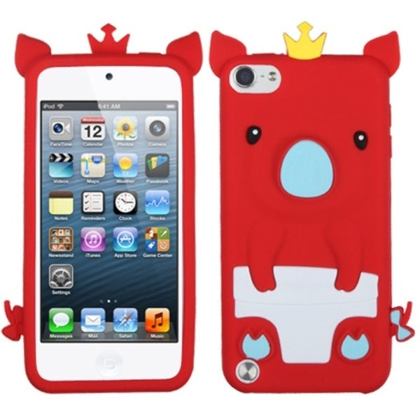 INSTEN Red Pig Piggy Soft Silicone Skin iPod Case Cover for iPod Touch 5