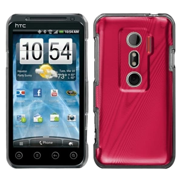 INSTEN Red Cosmo Back Phone Case Cover for HTC EVO 3D/ EVO V 4G