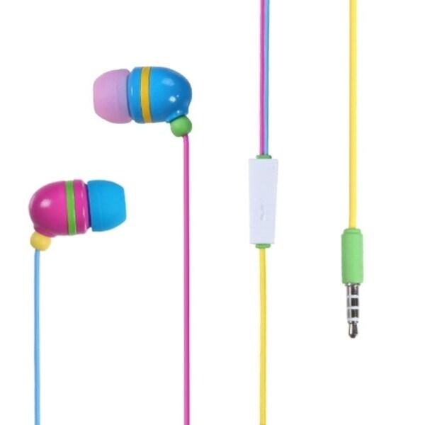 INSTEN Colorful Rainbow Light Stereo 3.5mm In-ear Handsfree Earphone