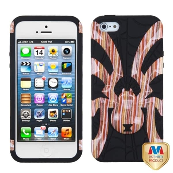 INSTEN Vermilion Silver Plating Plaid Alloy Phone Case Cover for Apple iPhone 5