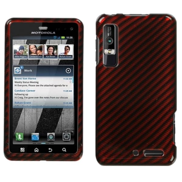 INSTEN Red/ Silver/ Racing Fiber Phone Case Cover for Motorola XT862 Droid 3